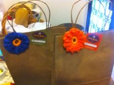 embalagem com crochet flor